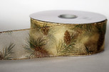 Wired Sheer Pinecone Ribbon | 2 1/2 Inches Wide | 50 Yards