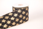 Wired Velvet Gold Fleur De Lis Ribbon | 2 1/2 & 4 Inch Wide | 10 Yards