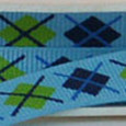 "3/8"" blue argyle with navy and lime green diamond pattern."