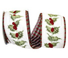 Wired Embroidered Holly with A Plaid Back | 4 Inches Wide | 10 Yards