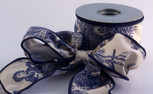 "Toile, Navy Blue Ribbon,  2-1/2"" width, 10-yard roll, wired"