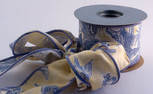 "Toile, Blue/Yellow Ribbon,  2-1/2"" width, 10-yard roll, wired"