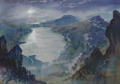 Climb Mountains by Moonlight.  A Watercolour by Ben Haslam BA Hons