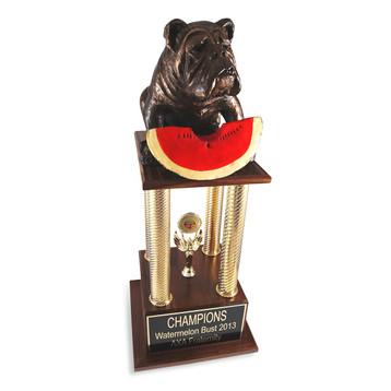 Bulldog Watermelon Bust Trophy