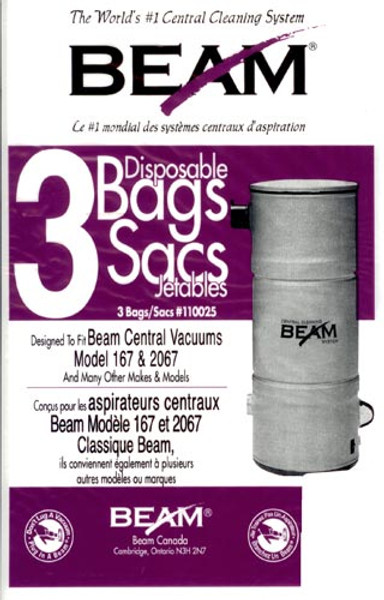 Beam Central Vacuum Bags 3pk