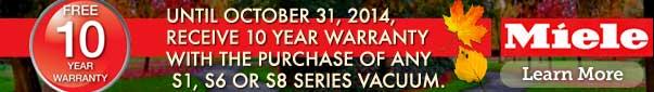 Free 10 Year Warranty on Miele Vacuums