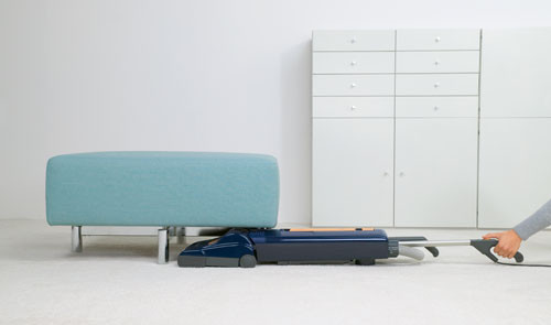 Lowers flat to the floor to clean under low furniture.