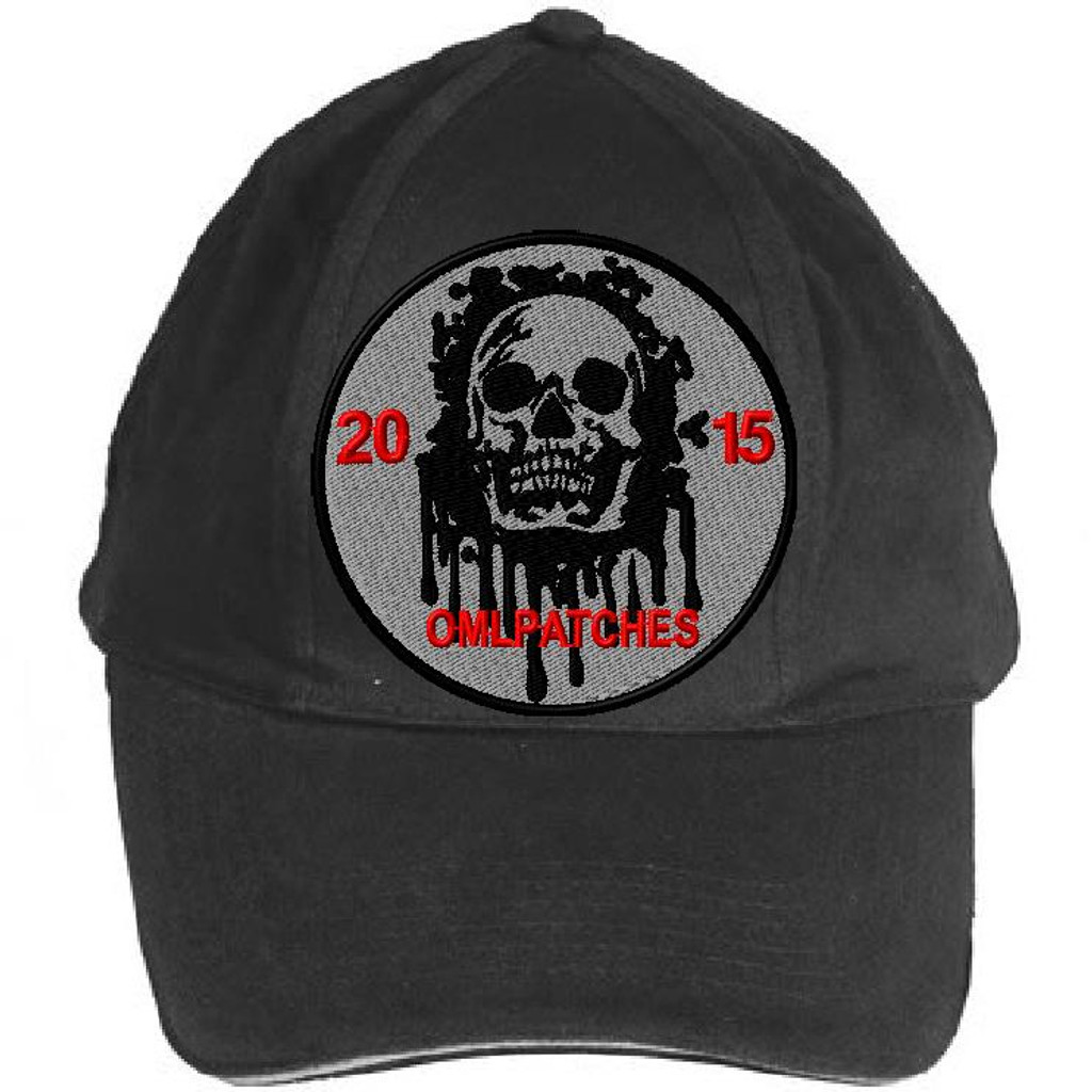 custom team morale patch blood skull on an OD hat