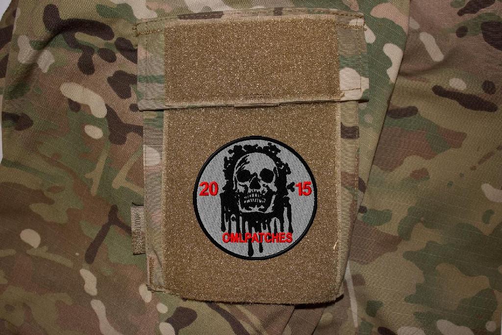 custom team morale patch blood skull on multicam uniform