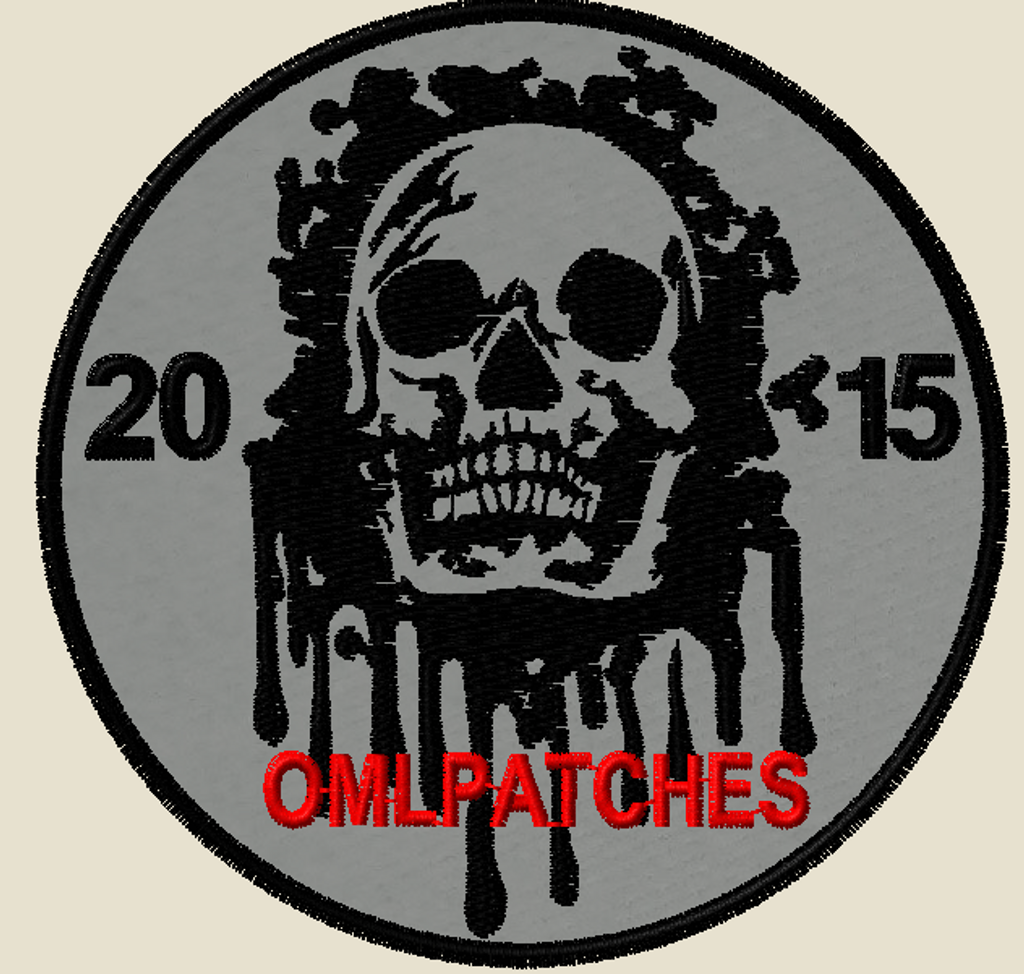 custom team morale patch blood skull on grey