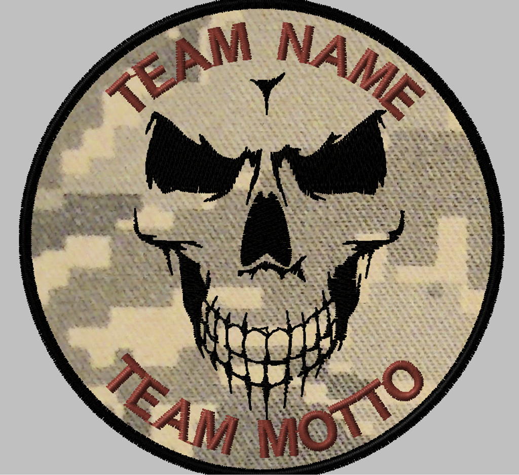 shadow skull custom team patch with ACU background