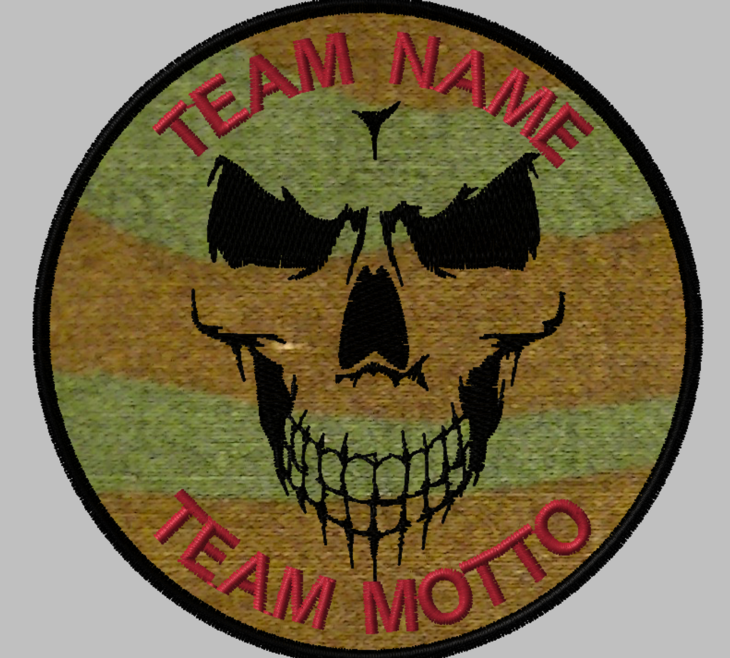 shadow skull custom team patch with a woodland background