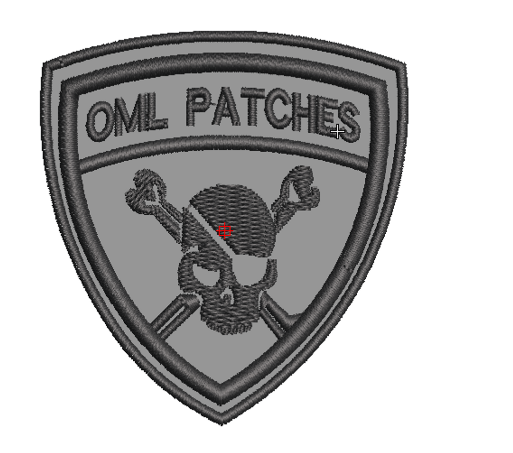 Team Template Pirate Patch in grey with black thread