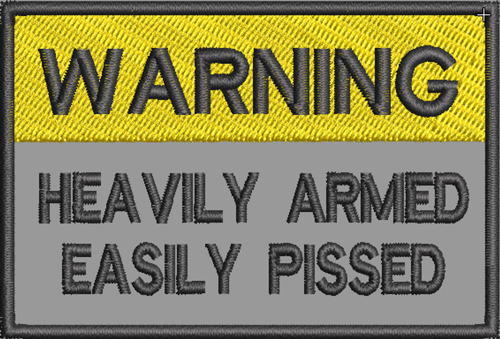 Warning Heavily armed on grey