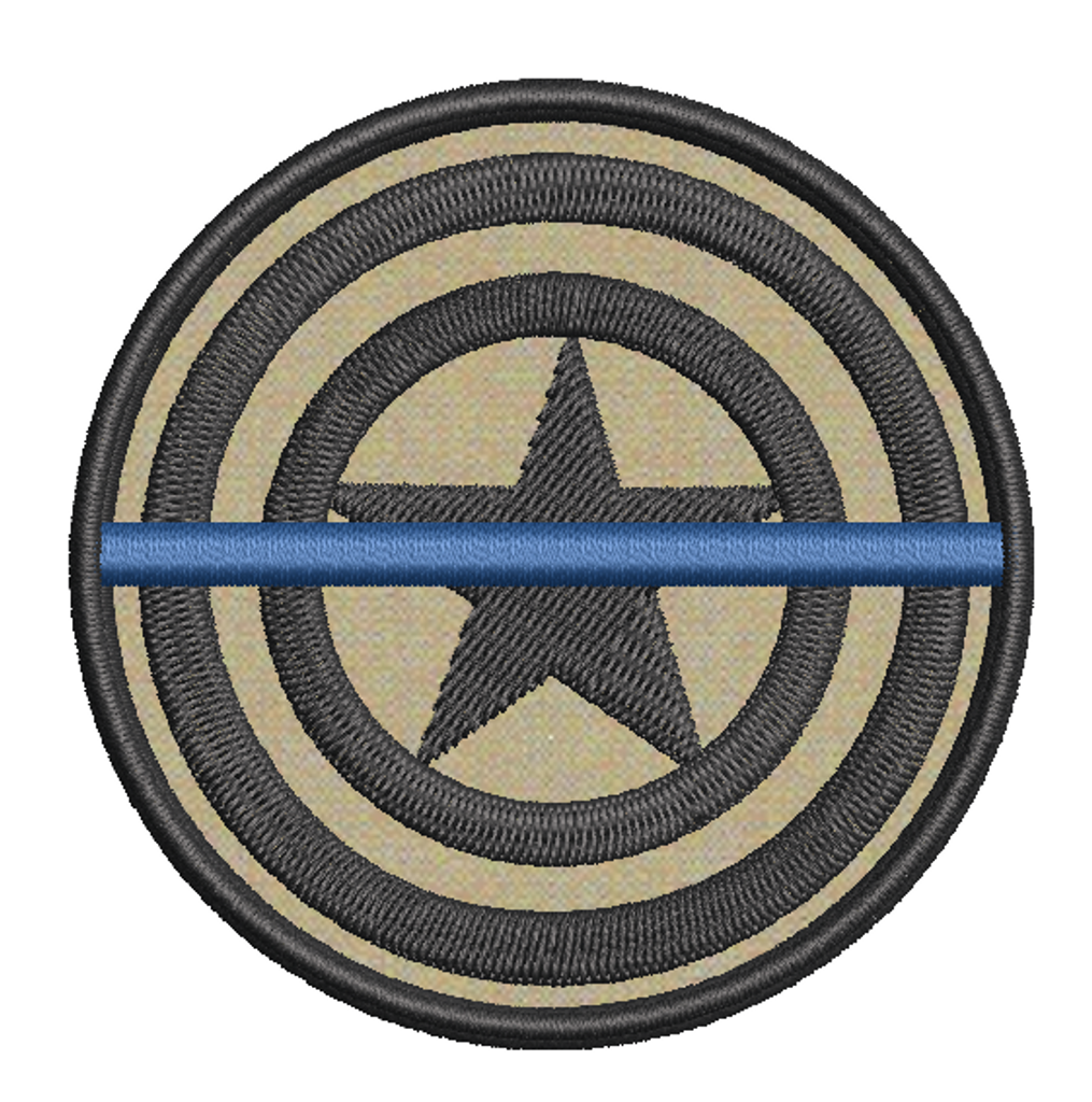 Captain America Thin Blue Line Patch with tan background and grey thread (custom)