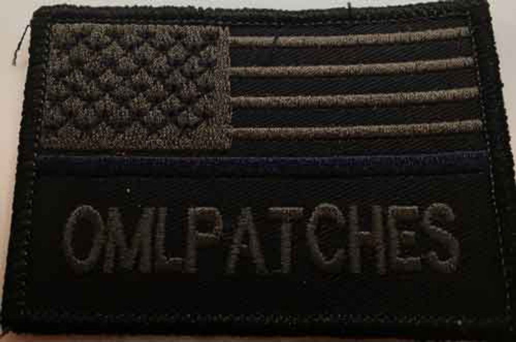 Blackout USA blue line custom flag patch - blacked out but still readable!