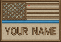USA Blue Line flag patch with space for adding lettering in tans