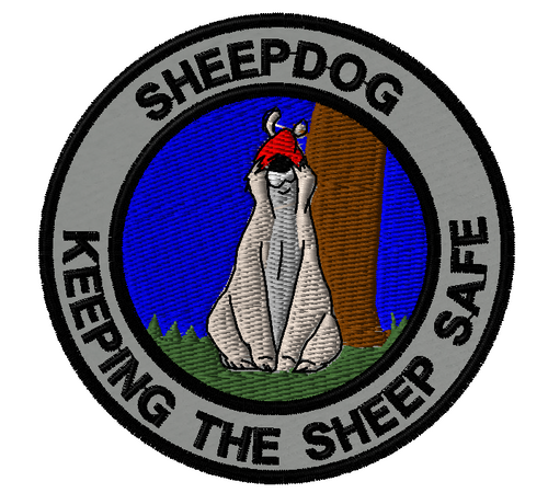 Sheepdog Sam - keeping the sheep safe morale patch in grey