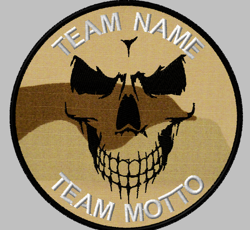 shadow skull custom team patch with 3 color desert background