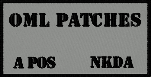Custom embroidered battle patch with stencil font with room for customizing your VELCRO® Brand patch - name, blood type and allergy information.  This patch is black with a grey background. #moralepatches #patches #custompatches #VELCRO® Brandpatches #pvcpatches #morale #militarypatches #policepatches #nametapes #battlepatches #customVELCRO® Brandpatches #custommilitarypatches #tacticalpatches #operatorpatches #omlpatches