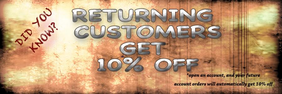 returning customers get 10% off