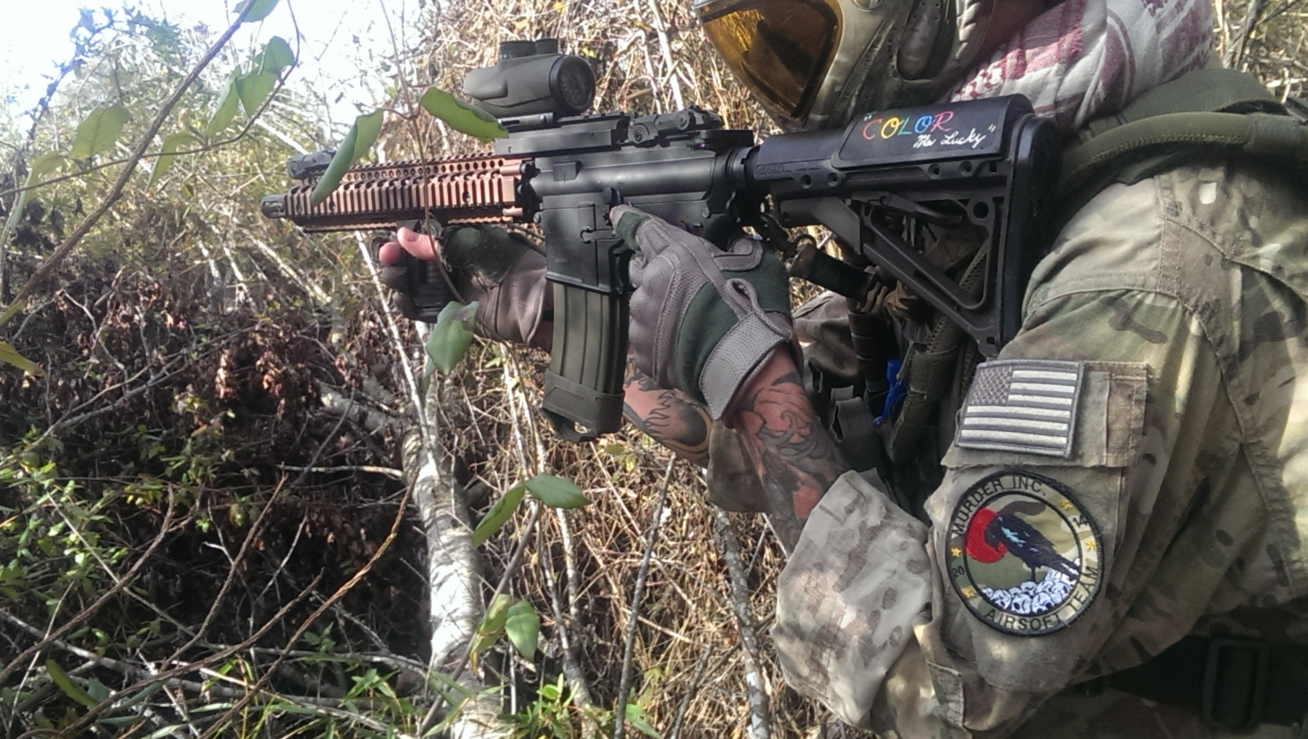 Murder Inc. Airsoft Team custom patches in action