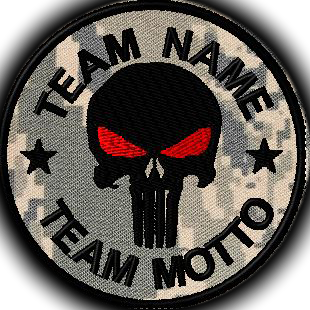 team template punisher with red eyes patch