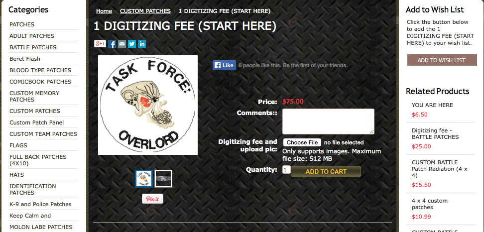 digitizing fee instructions at OMLpatches.com
