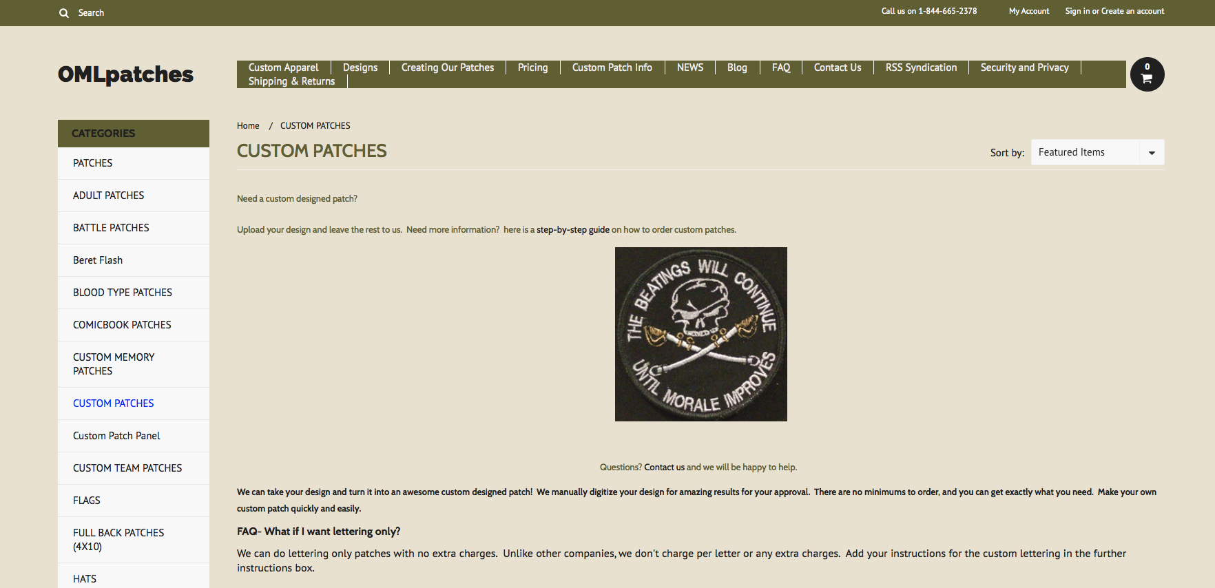 custom patches page at OMLpatches.com