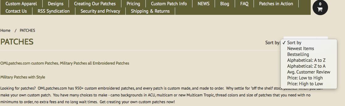 drop down patch sorting menus at OML