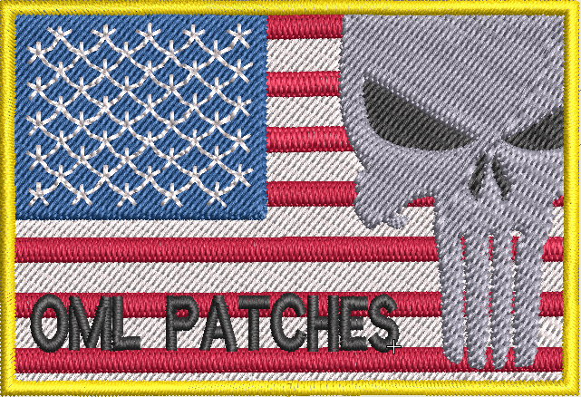 usa full color flag patch with punisher and text