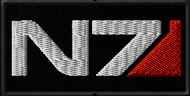 Mass Effect N7 Logo full color on black