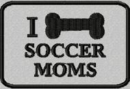 I bone soccer moms patch in grey background