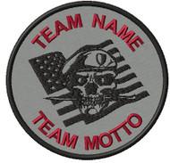 Custom Team Patch Patriot Skull in Grey material