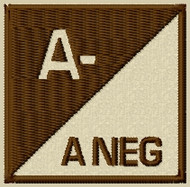 Blood Type 3 A Neg Velcro patch