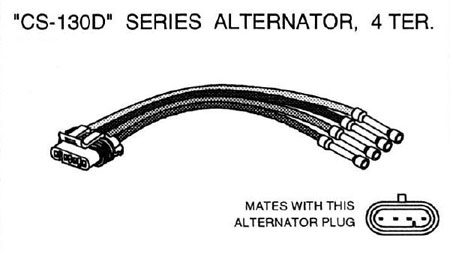 csd alternator wiring diagram csd image delco cs130d series alternator repair connector 4 terminal the on cs130d alternator wiring diagram