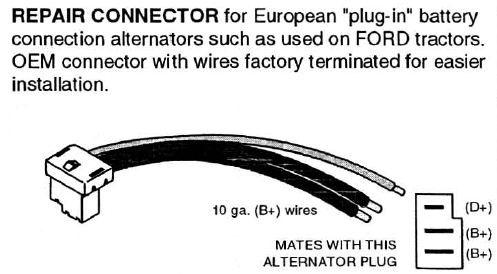 european lucas bosch alternator b plug in battery connector with rh repairconnector com Motorola Alternator Wiring Diagram Ford 6610 Alternator Wiring Diagram