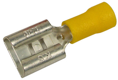 VW Style Wide Female Spade Connector 12 10 AWG Yellow 5  Pack