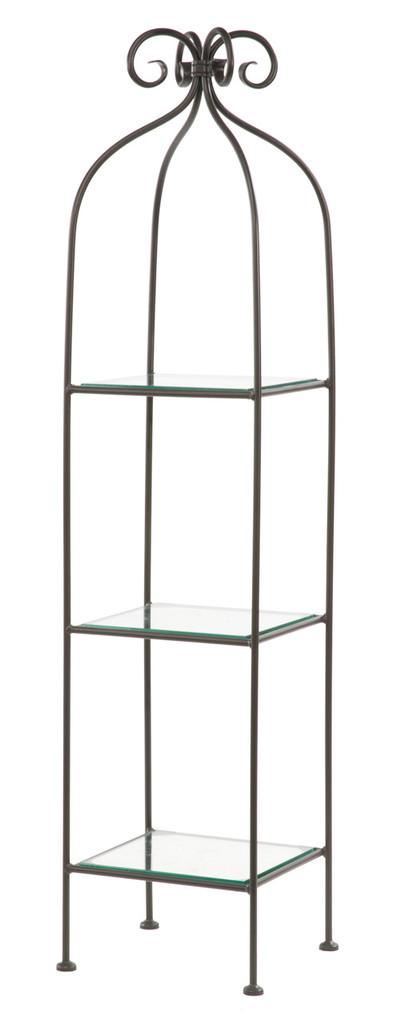Iron Standing Shelf - Wrapped Scroll - 3 Tier-Narrow