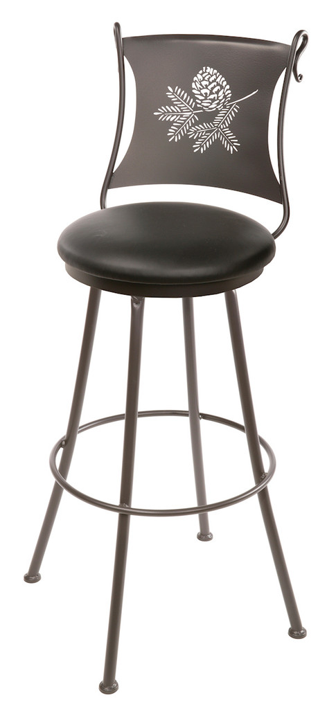 25 Inch Hand Forged Iron Pine Cone Swivel Bar Stool