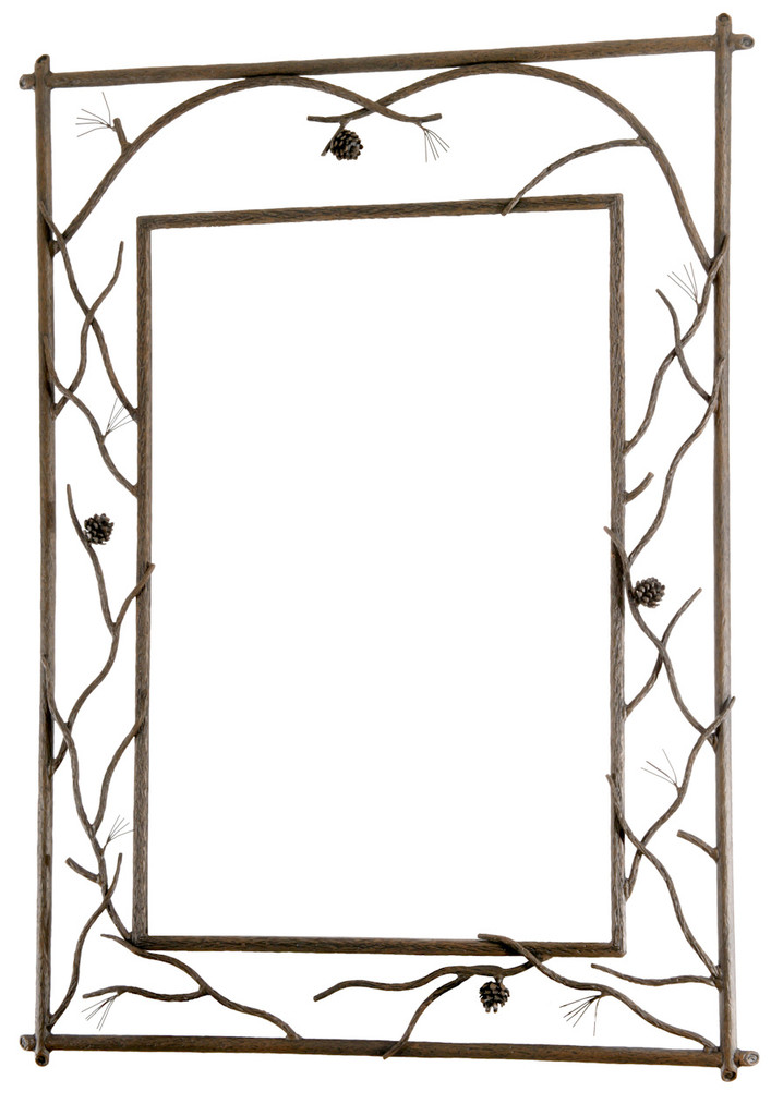 Pine Branched Iron Wall Mirror