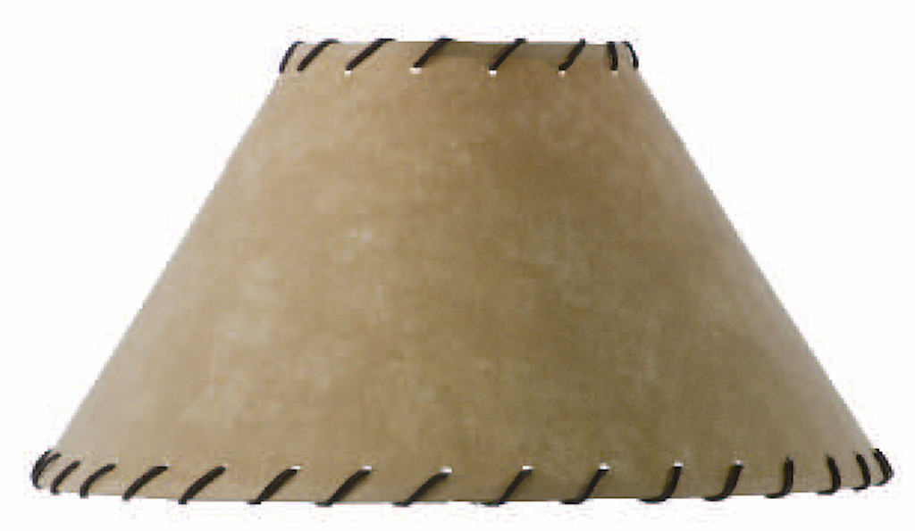 Parchment Table Lamp Shade with Leather Trim 18 inch