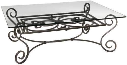 Stratford Cocktail Iron Table with Pencil Edge Glass Top