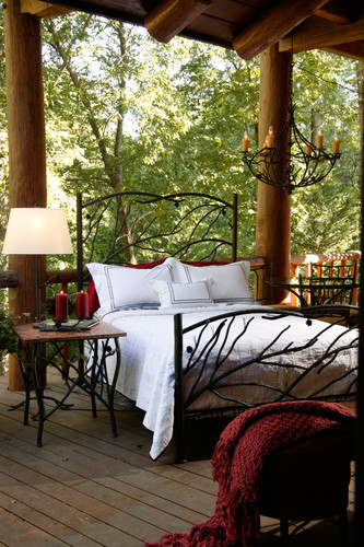 Pine Cal King Iron Bed