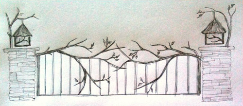 Custom Entry Gate with Branches and Leaves