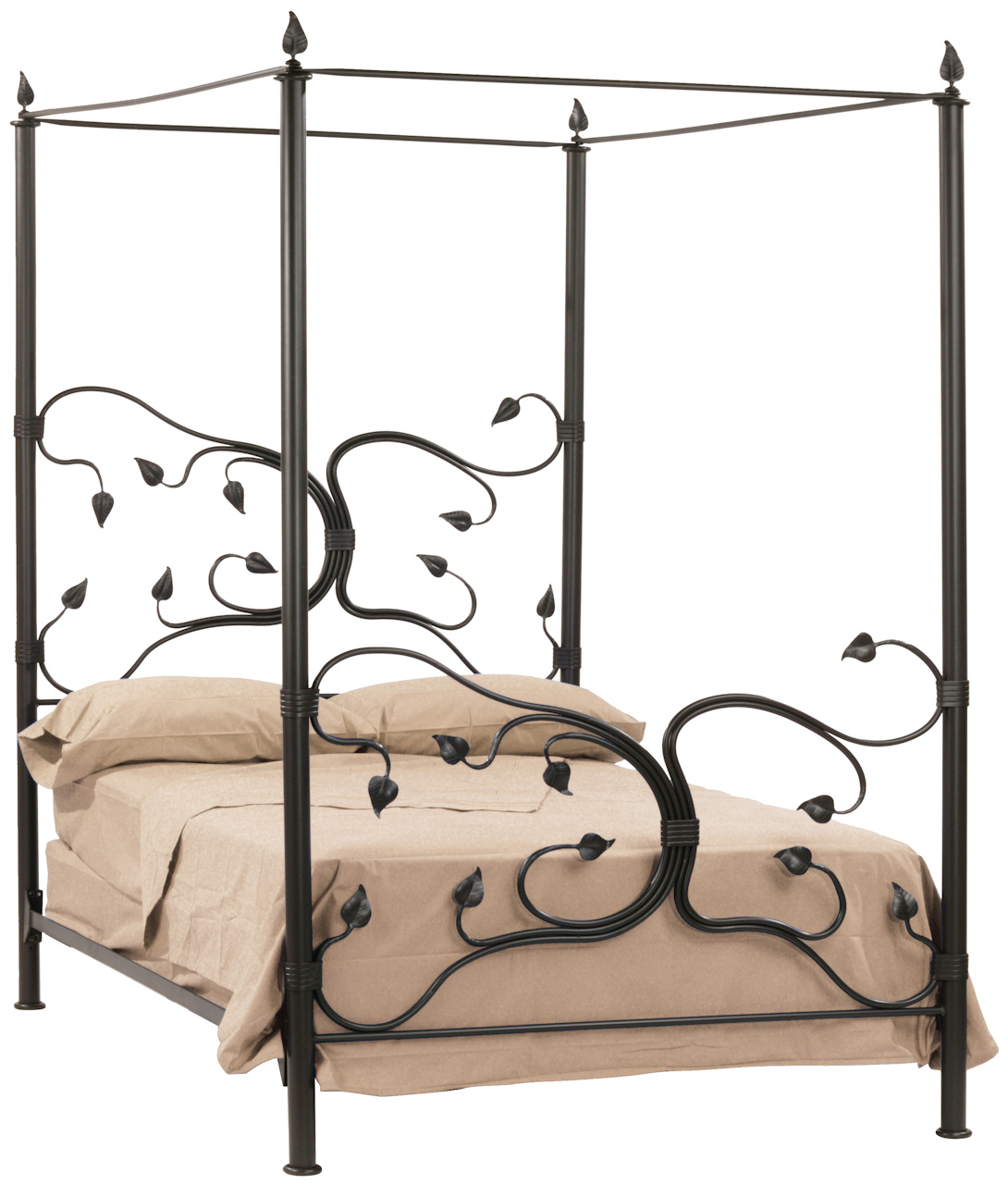 - Eden Isle Hand Forged Iron Canopy Bed King Complete