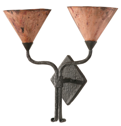 Cedarvale Hand Forged Iron Double Wall Sconce With Copper