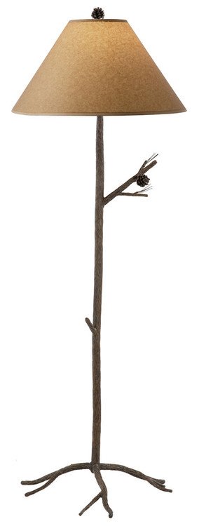 Pine hand forged iron floor lamp for Chevron shelf floor lamp