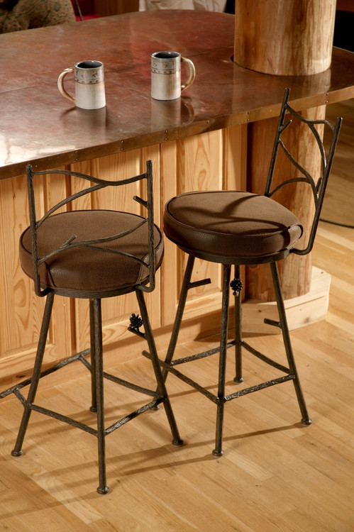 25 Inch Pine Hand Forged Iron Swivel Bar Stool