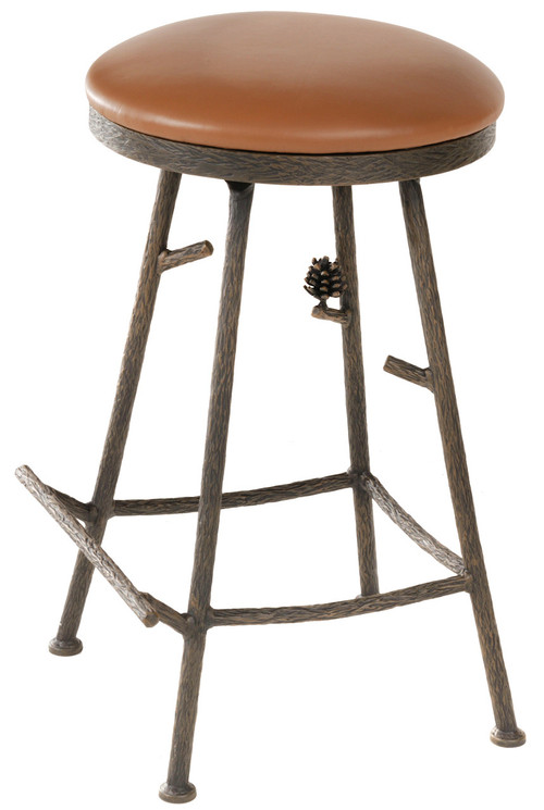 25 Inch Pine Hand Forged Iron Bar Stool Basic